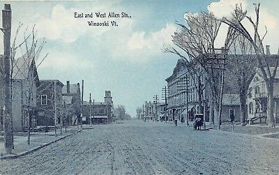 Winooski, VT-Postcard View at East and Allen Streets-Stores and Homes