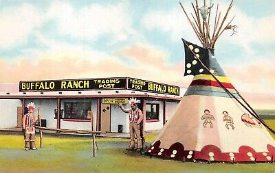 Afton, OK-Postcard of Buffalo Ranch Trading Post at Corner of Route. 66