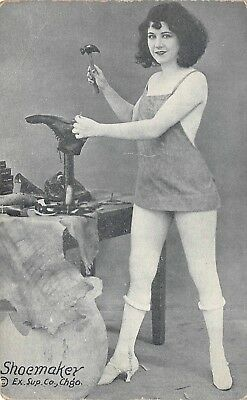 Arcade Card of Lady Performing a Normally Man's Job-A Shoemaker-Exhibit Supply