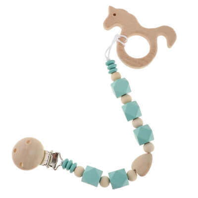 Baby Wooden Pacifier Clips Chain Dummy Soother Toy Holder Baby Shower Gift