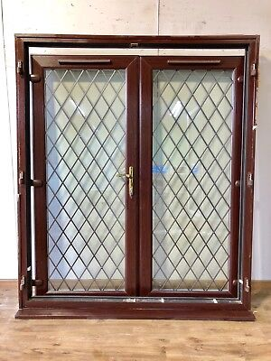 upvc rosewood french double glazed doors external pvcu brown leaded