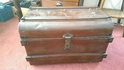ANTIQUE LATE C19th METAL CABIN SHIPPING RAILWAY TRUNK CHEST COFFEE TABLE TOY BOX