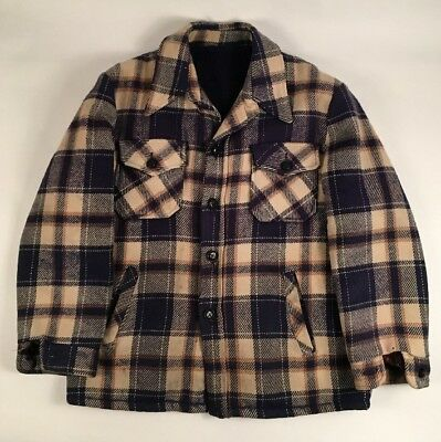 VGC Vtg 70s CPO BLUE Plaid Wool Shirt Jacket Military Navy LARGE FLEECE LINED