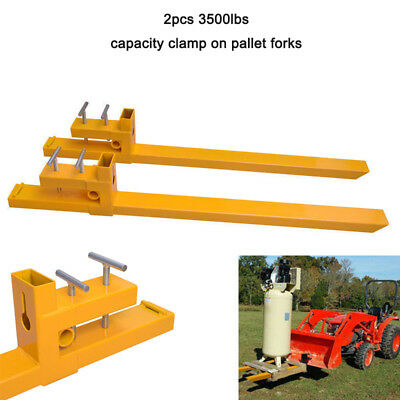 "59"" 3500lb Clamp on Pallet Forks Loader Bucket Tractor Stabilizer Bar Skidsteer"