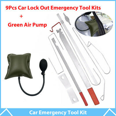 9Pcs Car Door Key Lost Lock Out Emergency Open Unlock Tool Kit + Green Air Pump