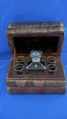 Antique French Decanter Set in Book Form Case