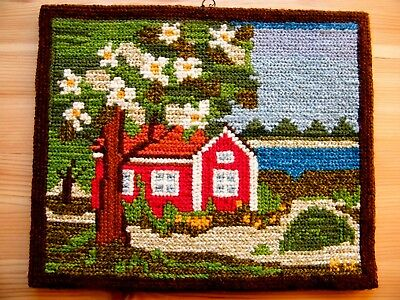 Vtg Hand Made Swedish Wall Hanging Landscape Village Scenery Embroidery Signed