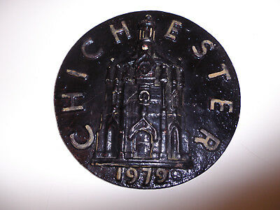 "Antique Vintage 9"" Cast Iron Chichester Plaque Sign 1979 Superb Reclaimed"
