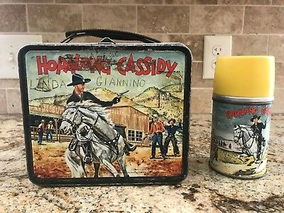 Vintage 1954 Metal Hopalong Cassidy Lunchbox & Thermos .