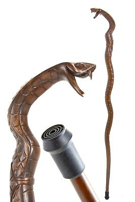 SNAKE wooden walking stick / cane - COBRA hand carved- with FERRULE - BOXED item
