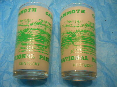 2 Vintage ~ Mammoth Cave ~ National Park Kentucky ~ Frosted Drinking Glasses