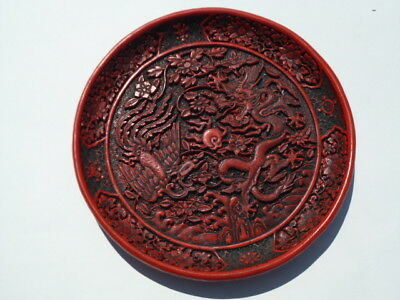 IMITATION Chinese Red Cinnabar Plate with Dragon & Phoenix, excellent condition