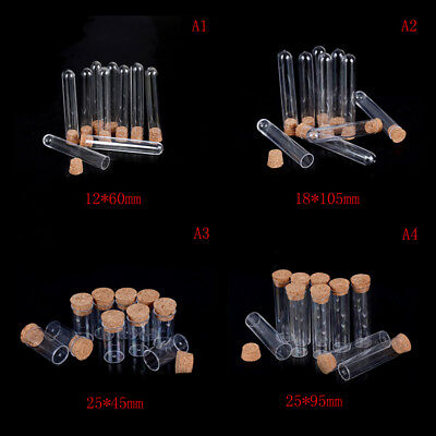 10Pcs Plastic Test Tube With Cork Vial Sample Container Bottle FH