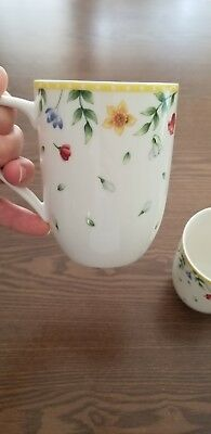 Set Of Two Villeroy & Boch Porcelain Coffee Mugs With Flowers, 1748 Germany