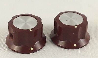 "Lot of 2 Vintage S-645 Bakelite RED Knobs For 1/8"" Shaft Pots/Switches"