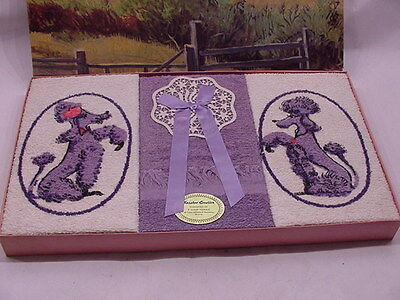 1950's ? Purple French Poodle Kassbro Creation 3 Guest Towels In Original Box
