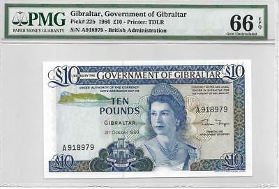 Gibraltar 1986 10 Pounds P22b PMG Gem Uncirculated 66 EPQ