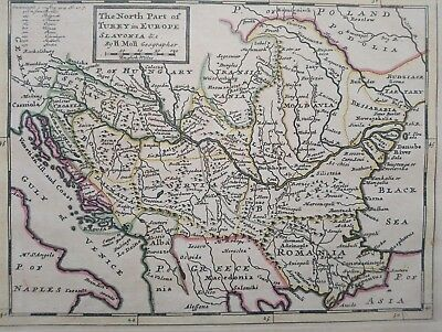 1732 Herman Moll Map The North Part of Turky in Europe Slavonia Slovenia Croatia