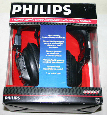 Quality PHILIPS SBC 3155 Electrodynamic Stereo Headphones Volume Controls Boxed