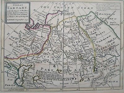 1732 Herman Moll Map Great Tartary with the Tract of the Moscovite Siberia Tibet