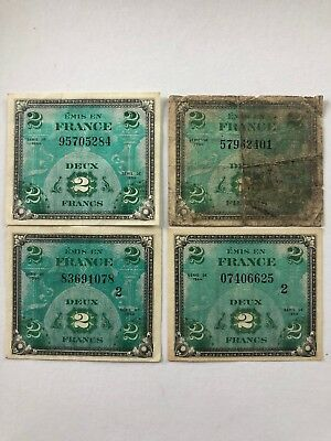 2 Francs 1944 Ww2 Allied Military Payment Notes France Lot 4