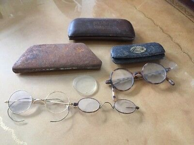 3 pair vintage spectacles glasses & 3 glasses cases