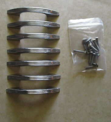 Vintage chrome plated ribbed drawer pull Art Deco Lot of 7