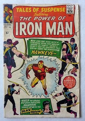Tales Of Suspense 57 Iron Man Silver Age G/G+ Condition 1964 First Hawkeye!