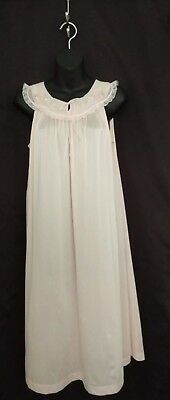 NWOT Vintage 1960s Night Gown Shadowline  Pink Nylon Embroidered-Flowers S