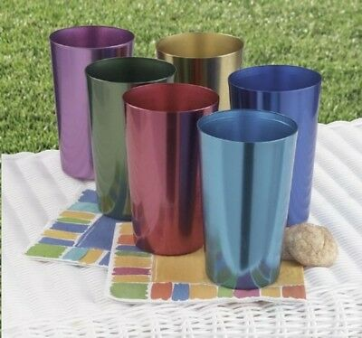 Glasses 6 Anodized Aluminum Drinking Tumblers 16 oz Vintage Retro Water Cup Set