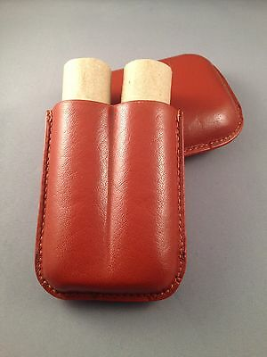 Wide TAN Leather Cigar Case - Wide Churchill Size - 2 Finger 60-64 RG