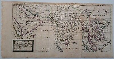 1732 Herman Moll Map of the Continent of the East-Indies Indian Sea Siam Arabia