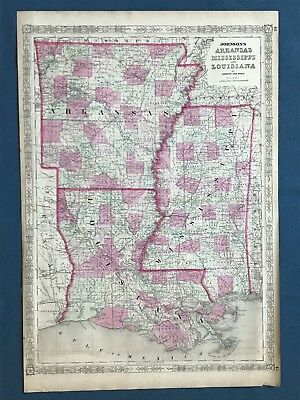 Original Johnson'S 1863 Map Of Arkansas, Mississippi And Louisiana