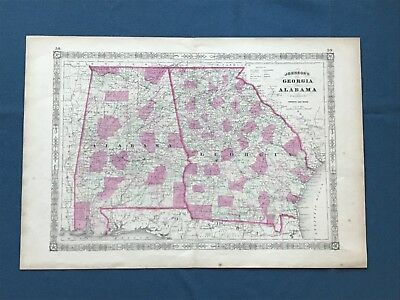 Original Johnson'S 1863 Map Of Georgia And Alabama