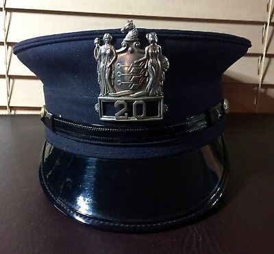1950/60s N.J. Fireman Dress Uniform Hat Original Metal Badg Size 7 3/8 OBSOLETE