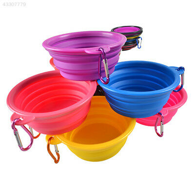 Foldable Collapsible Silicone Pet Dog Cat Feeding Water Bowl Cup with Carabiner