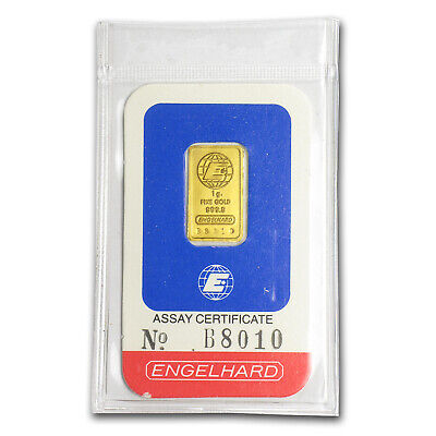 1 gram Gold Bar - Engelhard (In Assay) - SKU #85601
