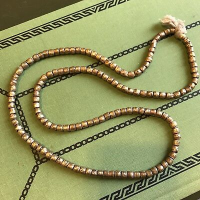 """Vintage African Ethiopia Brass Tube Spacer Beads 5mm x 4mm Strand 28"""""""