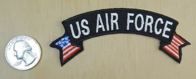 "U.s. Air Force With Flags Rocker Style Iron-On / Sew-On Patch  4""x 1.5 """