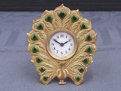 Beautiful Old Table Clock France Peacock Enamel Bronze Fire-Gilded