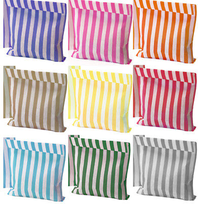 Confetti Coloured Stripe Paper Bags, Sweet Bags, Candy Bags