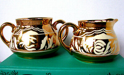 Gibsons Staffordshire Gold and White Creamer and Sugar Bowl, Art Deco Wedding