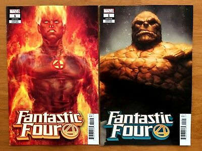 FANTASTIC FOUR #1 Artgerm Lau Thing + Human Torch Variants Marvel 2018 NM+