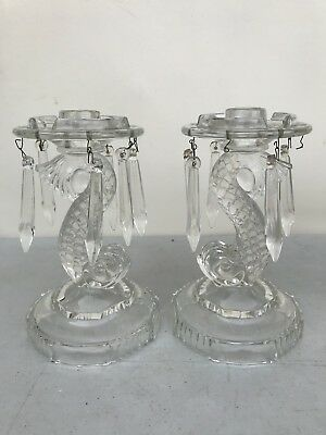 Antique Vintage Pair Imperial Glass Dolphin Koi Fish Candle Holders With Prisms