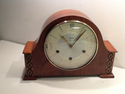 Vintage Smiths of Great Britain Oak Cased Triple Train Mantel Clock