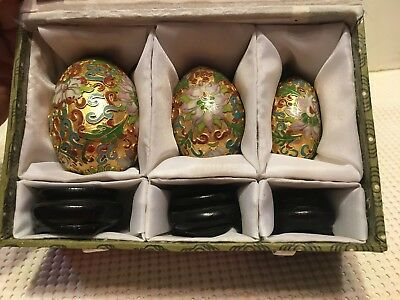 Lot of 3 Different Size Cloisonne Eggs With Black Stands