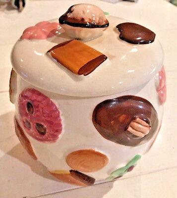"Vintage ""Cookies All Over"" Ceramic COOKIE JAR Napco? Lidded Rare House Kitchen"