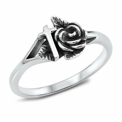 Antique Cross Rose Band .925 Sterling Silver Ring