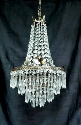Antique French Empire Brass & Crystal Large Basket Directorie Chandelier 1920s