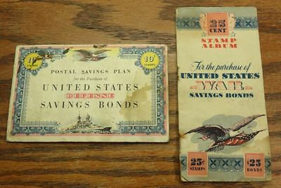 United States Defense Savings Bonds With Stamps & US War Savings Bonds Booklets